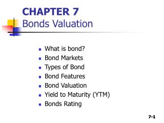 CHAPTER 7 Bonds Valuation