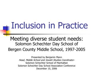 Inclusion in Practice