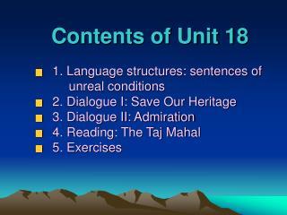 Contents of Unit 18