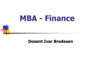 MBA - Finance