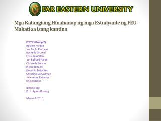 Mga Katangiang Hinahanap ng mga Estudyante ng  FEU-Makati  sa isang kantina