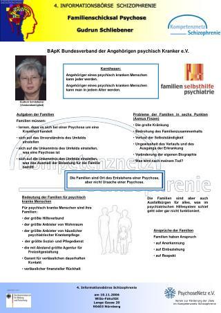 4. INFORMATIONSBÖRSE  SCHIZOPHRENIE   Familienschicksal Psychose Gudrun Schliebener