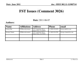 FST Issues (Comment 3026)