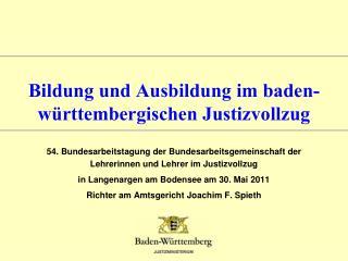 Bildung und Ausbildung im baden-württembergischen Justizvollzug