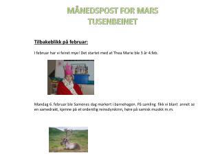 MÅNEDSPOST FOR MARS TUSENBEINET