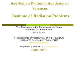 Azerbaijan National Academy of Sciences Institute of Radiation Problems