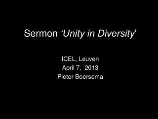 Sermon  'Unity in Diversity '