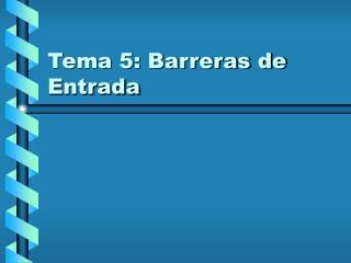 Tema 5: Barreras de Entrada
