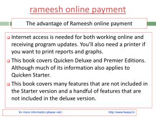 Benefit of using rameesh online payment