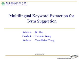 Multilingual Keyword Extraction for Term Suggestion