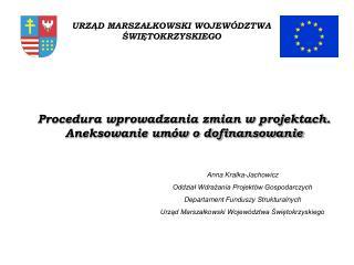 Procedura wprowadzania zmian w projektach.  Aneksowanie umów o dofinansowanie