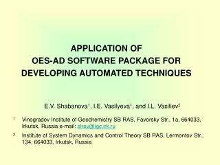 APPLICATION OF  OES-AD SOFTWARE PACKAGE FOR DEVELOPING AUTOMATED TECHNIQUES