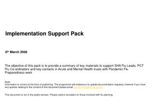 Implementation Support Pack
