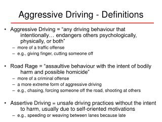 Aggressive Driving - Definitions