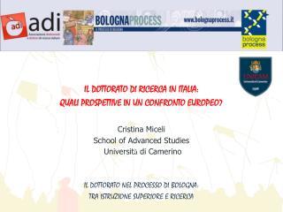 IL DOTTORATO DI RICERCA IN ITALIA:  QUALI PROSPETTIVE IN UN CONFRONTO EUROPEO? Cristina Miceli