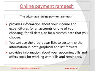 Benefit of using online payment rameesh
