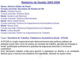 Relatório de Gestão 2003-2006