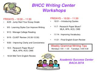 BHCC Writing Center  Workshops