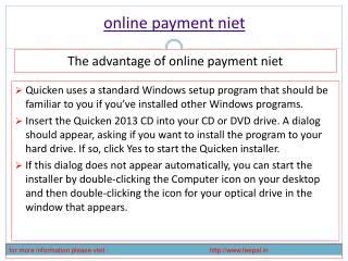 Benefit of using online payment niet