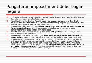 Pengaturan impeachment di berbagai negara
