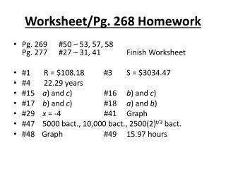 Worksheet/Pg. 268 Homework