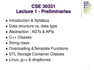 CSE 30331 Lecture 1 - Preliminaries