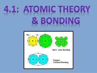 4.1:  Atomic Theory         & BONDING