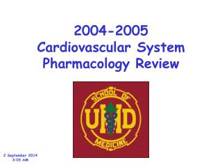 2004-2005 Cardiovascular System Pharmacology Review