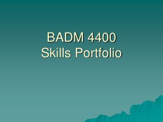 BADM 4400 Skills Portfolio