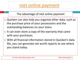 Benefit of using niet online payment