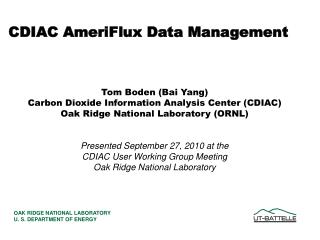 CDIAC AmeriFlux Data Management