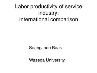Labor productivity of service industry:  International comparison