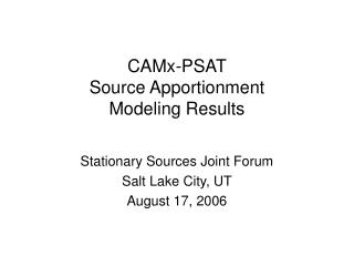 CAMx-PSAT Source Apportionment Modeling Results