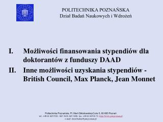 Możliwości finansowania stypendiów dla doktorantów  z funduszy DAAD