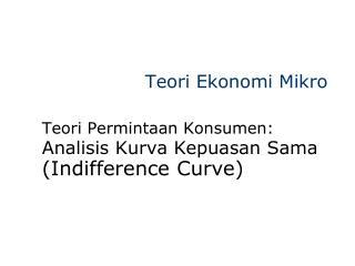 Teori Ekonomi Mikro