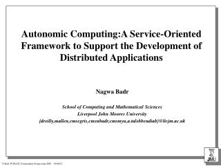 Nagwa Badr School of Computing and Mathematical Sciences Liverpool John Moores University