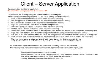 Client – Server Application
