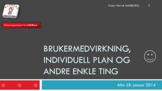 Brukermedvirkning, Individuell Plan og andre enkle ting