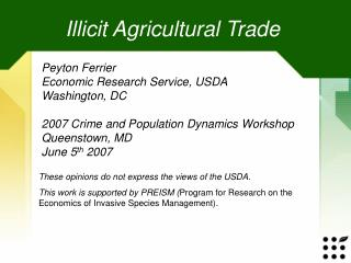Illicit Agricultural Trade