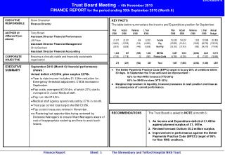 Enclosure 6 Trust Board Meeting    4th November 2010 FINANCE REPORT for the period ending 30th September 2010 Month 6