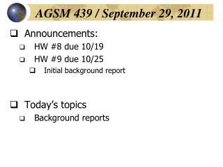 AGSM 439 / September 29, 2011