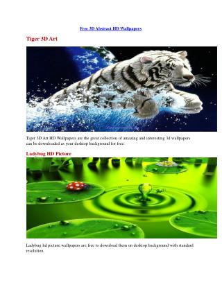 3D Abstract HD Wallpapers Free Downloads