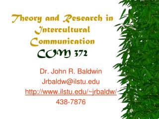 Theory and Research in Intercultural Communication COM 372