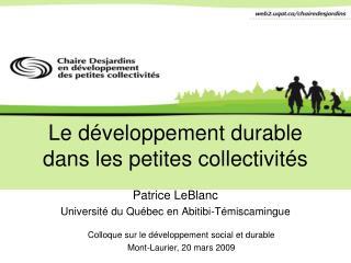 Le développement durable dans les petites collectivités