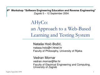 AHyCo: an Approach to a Web-Based Learning and Testing System