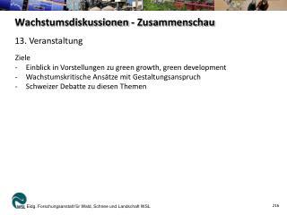 Wachstumsdiskussionen - Zusammenschau
