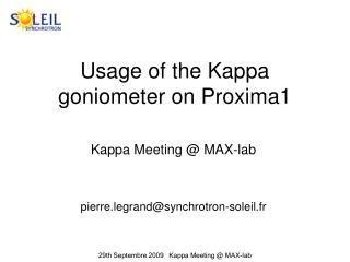 Usage of the Kappa goniometer on Proxima1