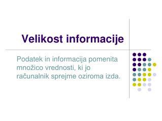 Velikost informacije