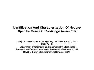 Identification And Characterization Of Nodule-Specific Genes Of  Medicago truncatula