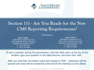 Section 111 - Are You Ready for the New  CMS Reporting Requirements